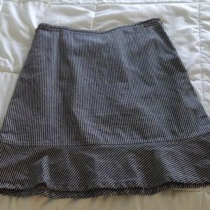 Loft Navy White Striped Skirt 6